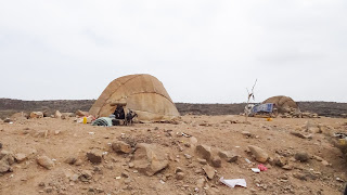 Typical nomad tent ready to sleep
