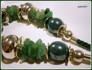 naszyjnik zielony awenturyn, porcelana, sznur pasmanteryjny