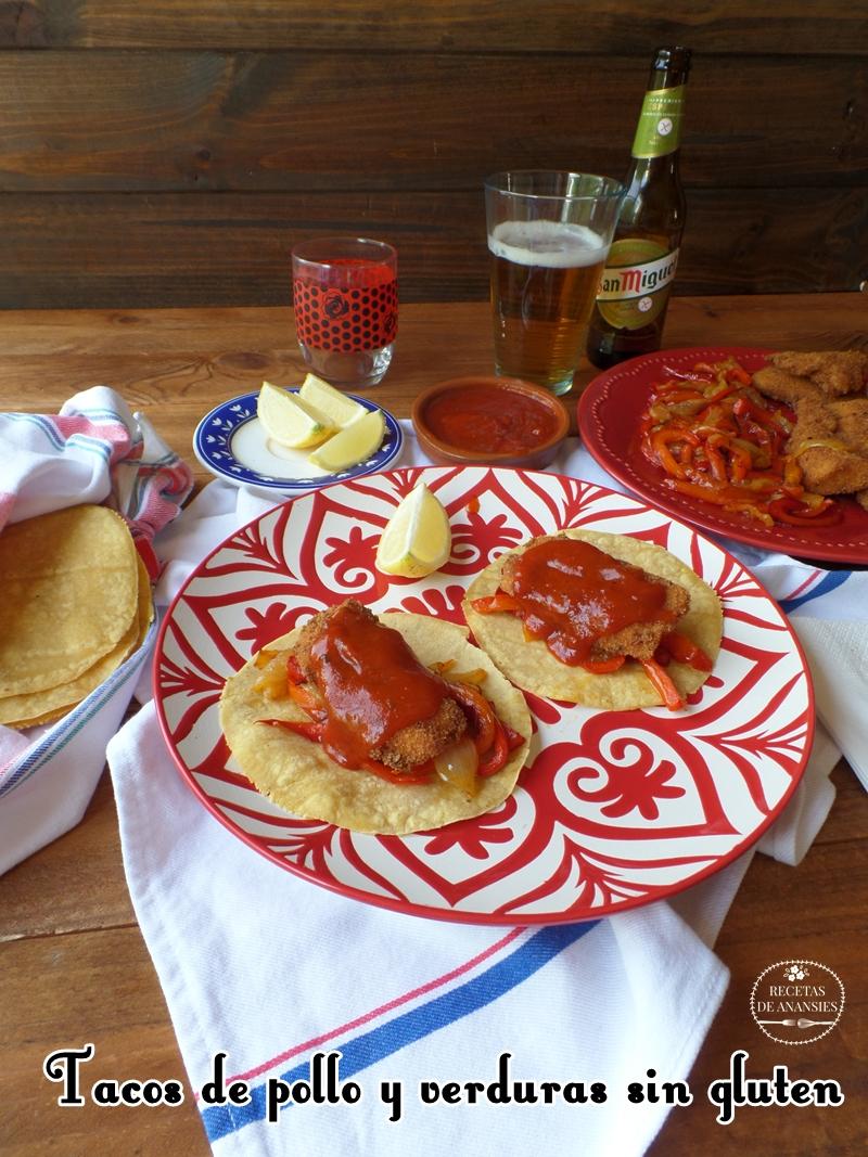 Tacos de pollo y verduras sin gluten