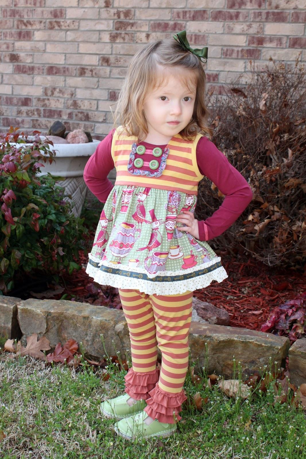 ef2fa26043db *Khloe is wearing Matilda Jane Cabernet Tee, Matilda Jane Sailor Top and Matilda  Jane Goldenrod Leggings (pants). She is wearing Coco Jumbo mint green Mary  ...