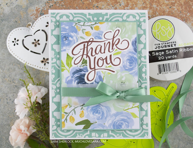 Fresh Sage and a soft blue floral print combine with copper embossing in this pretty card created with Fun Stampers Journey Cement Tile stencil, and Everyday Script Stamp Set.