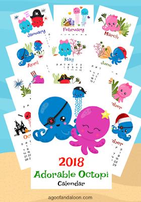 adorable 2018 calendar printable