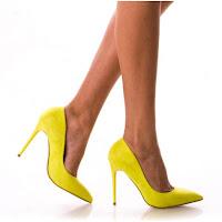 pantofi cu toc tip cui piele intoarsa galbeni
