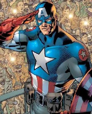 Dibujo del Capitán América con la mano en la frente