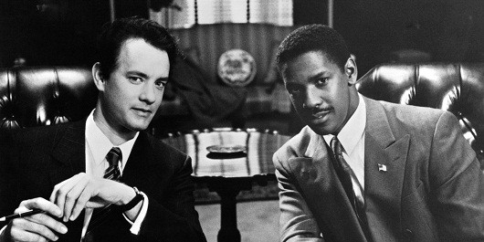 Andrew Beckett (Tom Hanks) e Joe Miller (Denzel Washington)
