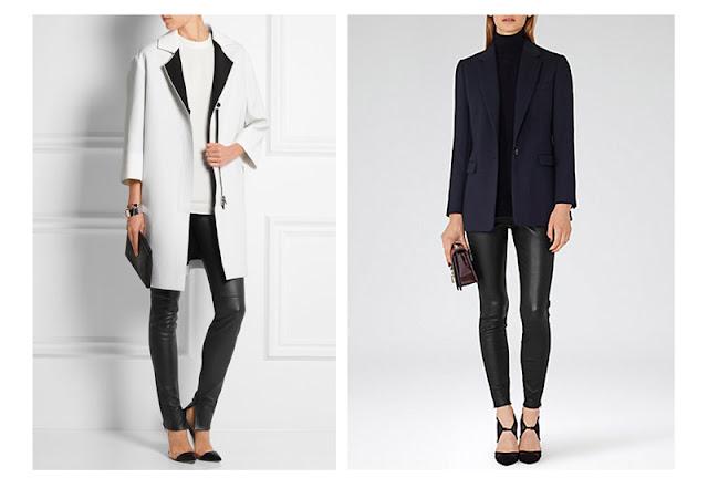 Кожаные брюки и леггинсы с пальто и жакетом