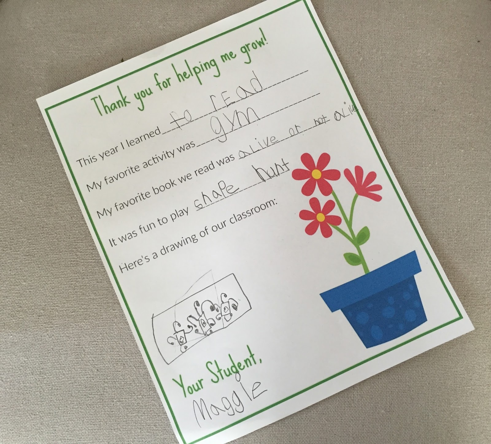 A Thank You Letter For Teachers Free Printable