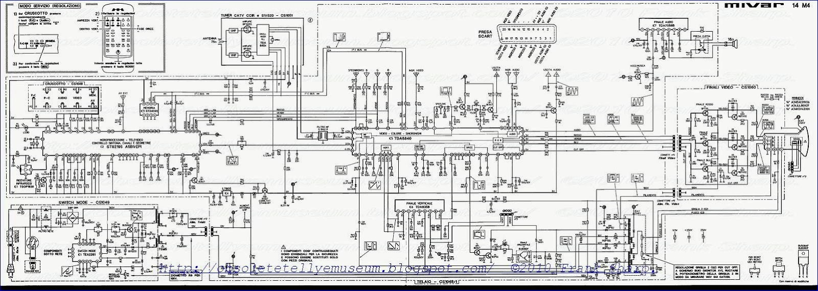 Obsolete Technology Tellye Mivar 14m4 White Chassis Cs1046 Circuit Diagram Of Synchronized Mains Voltage Power Control Via The I2c Bus Adjustments Can Be Made Horizontal And Vertical Geometry Sawtooth Generator Drives Output Drive