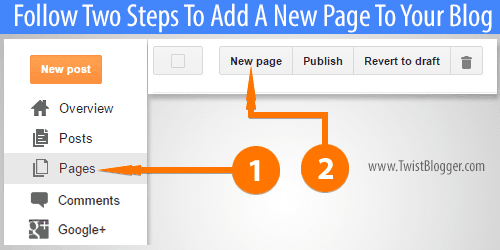 add a new page in blogger