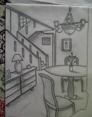 Desain Interior Sketsa Sudut Ruang Makan