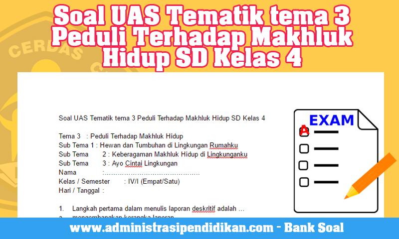 Soal UAS Tematik tema 3 Peduli Terhadap Makhluk Hidup SD Kelas 4