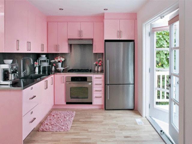 kabinet dapur warna pink