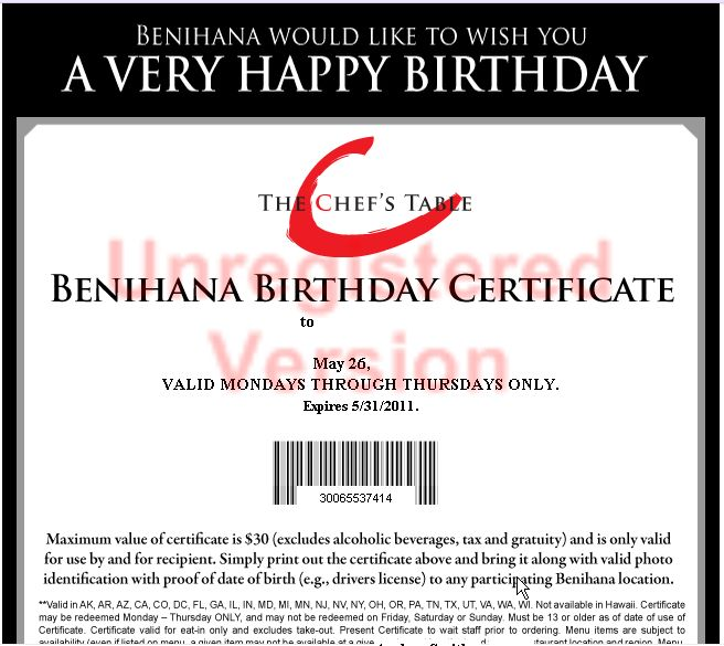 Register for The Chef's Table and receive the latest Benihana news, special offers and a complimentary $30 Benihana Birthday Certificate * during the month of your birthday. Join The Chef's Table®Cuisine: Teppanyaki, Sushi, Sashimi.