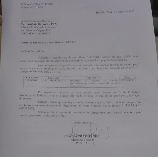 EMENDA PARLAMENTAR DO DEPUTADO FEDERAL CHAPADINHA VAI GARANTIR A COMPRA DE UMA MAMÓGRAFO  PARA A CASA DE SAÚDE DA MULHER EM ITAITUBA.