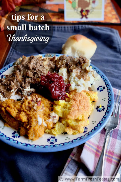 Practical ideas for cutting back, paring down, simplifying and enjoying the holiday more when you have fewer people at the Thanksgiving table.