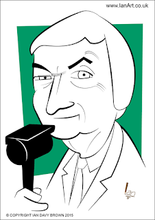Richie Benaud caricature by Ian Davy Brown