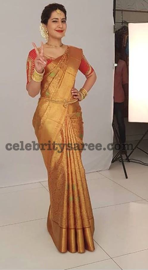 Rashi Khanna Gold Kanjeevaram Saree