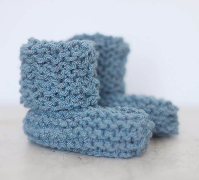 EASY Cuffed Baby Booties Free Knitting Pattern by Gina Michele