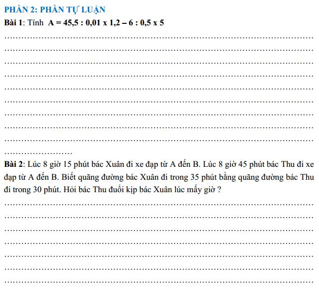 [ĐỀ THI TOÁN LỚP 5 - ĐÁP ÁN] ĐỀ ÔN TẬP TOÁN LỚP 5 NÂNG CAO SỐ 004 TRUNG BÌNH - KHÁ