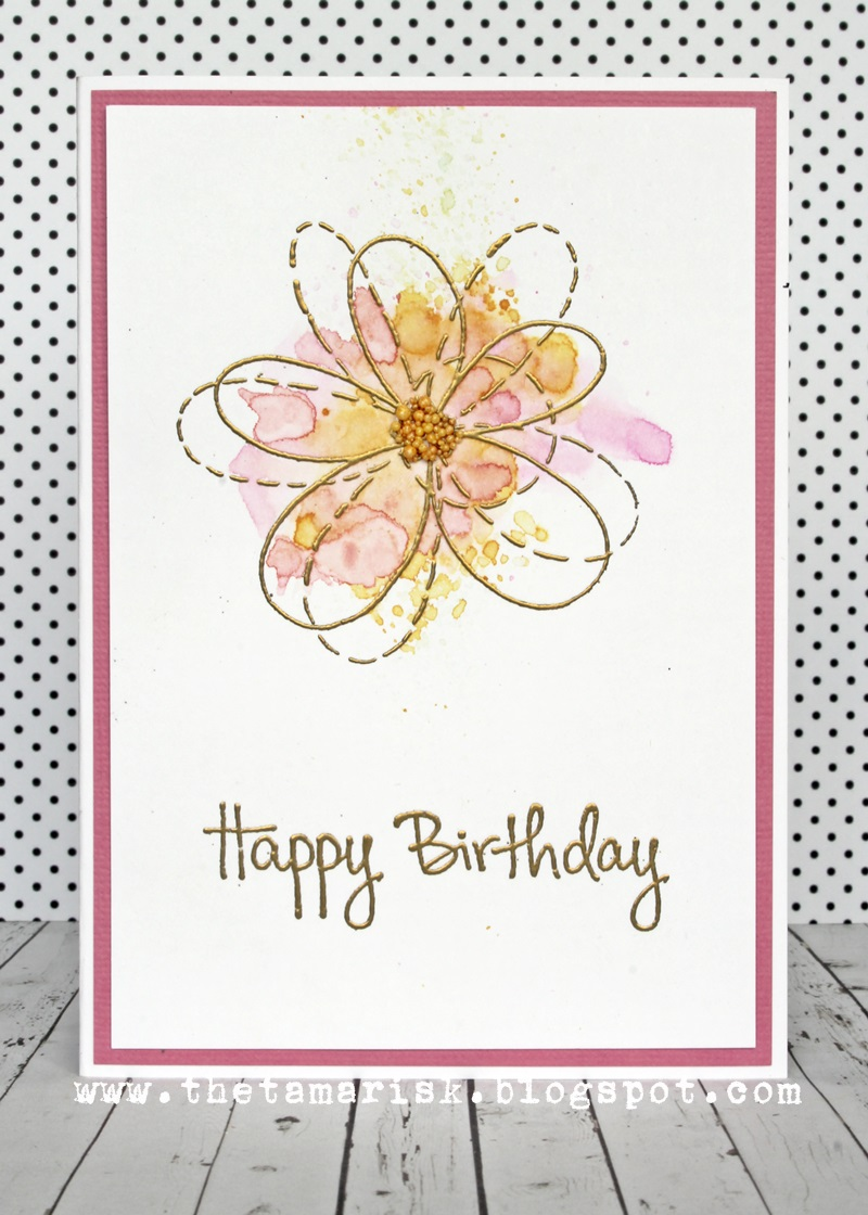 The tamarisk happy birthday flower card a quick and easy birthday card pen pattern flower stamp by stampendous embossed with gold then a splash of distress ink colour izmirmasajfo