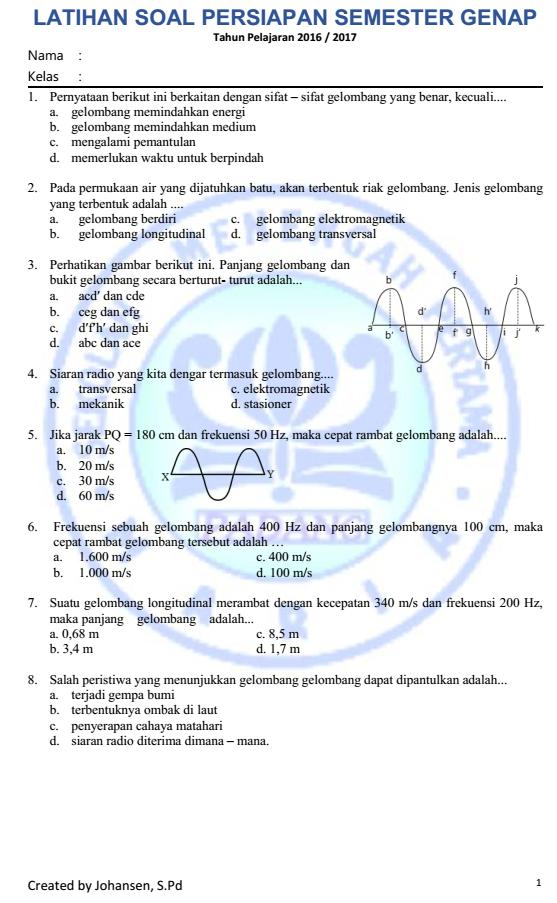 Fisika Smp Maria Tugas Persiapan Semester Genap Kelas Viii