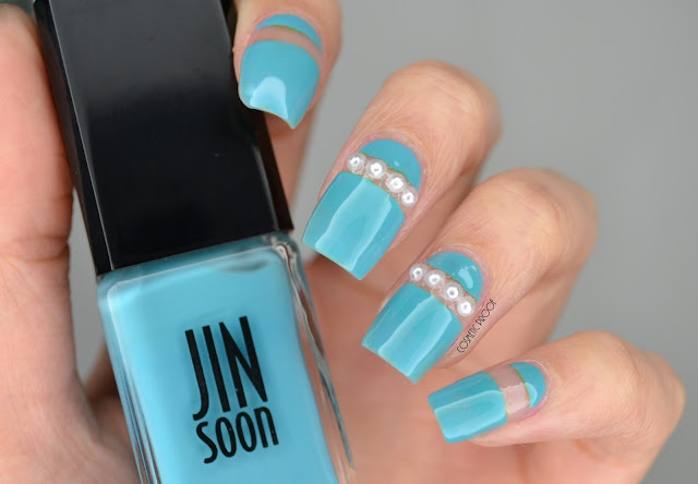 Jin Soon Poppy Blue Pearl Nail Art