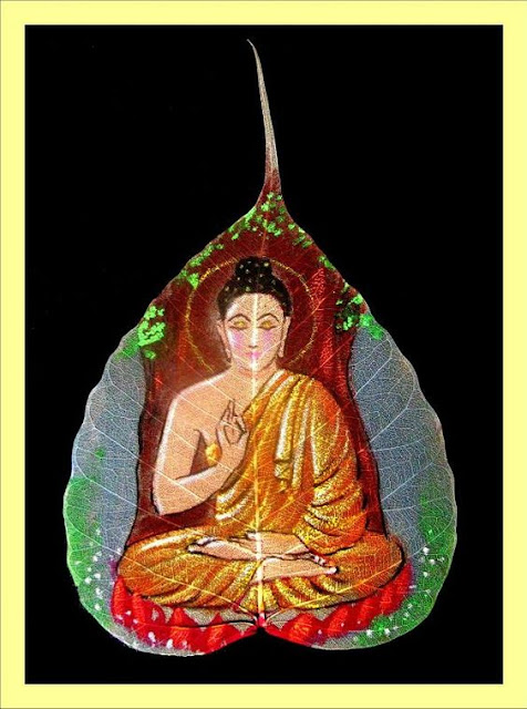 peepal leaf painting buddha