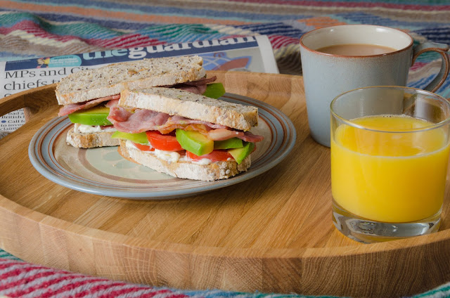 Bacon tomato and avocado with a cup of tea.