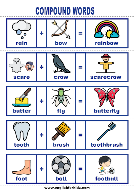 English vocabulary building cards - compound words