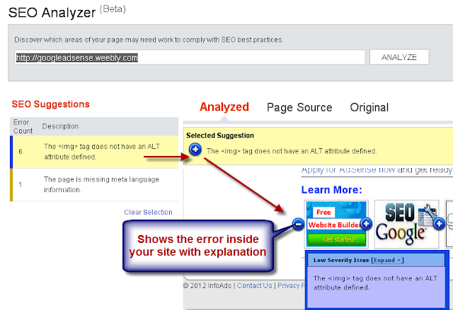 SEO Analyzer in Bing Webmaster Tools.