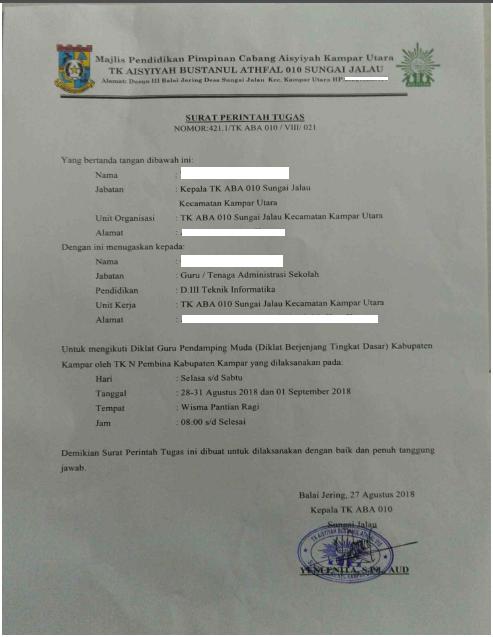 Geveducation:  Contoh Format Surat Perintah Tugas (SPT) dan Aktif mengajar TK/KB 2019