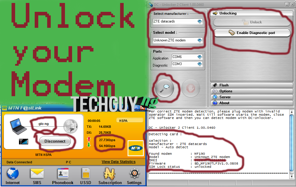 How to Unlock your stubborn Modems using DCcarp DC Unlocker for Free