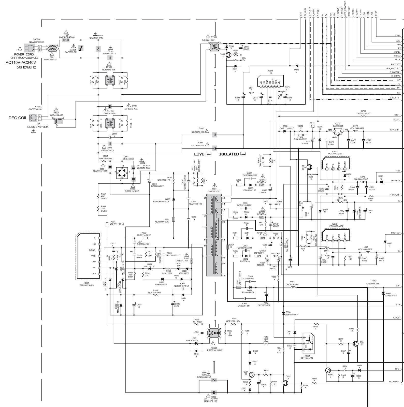 JVC AV17V214  TV  POWER SUPPLY [SMPS]  SCHEMATIC