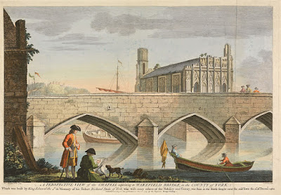 Chapel adjoining Wakefield Bridge by William Henry Toms 1743 Wikimedia Commons