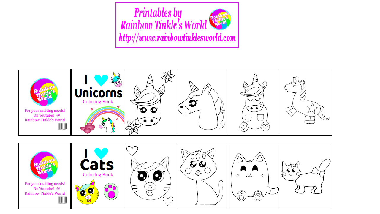 Printables Coloring Book | Rainbow Tinkle S World Diy Printable Miniature Coloring Books