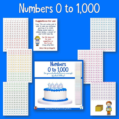 Ten things to do with 1,000 numbers - Here's a freebie 1,000 grid of numbers, along with several ideas to get you started building number sense with your students!