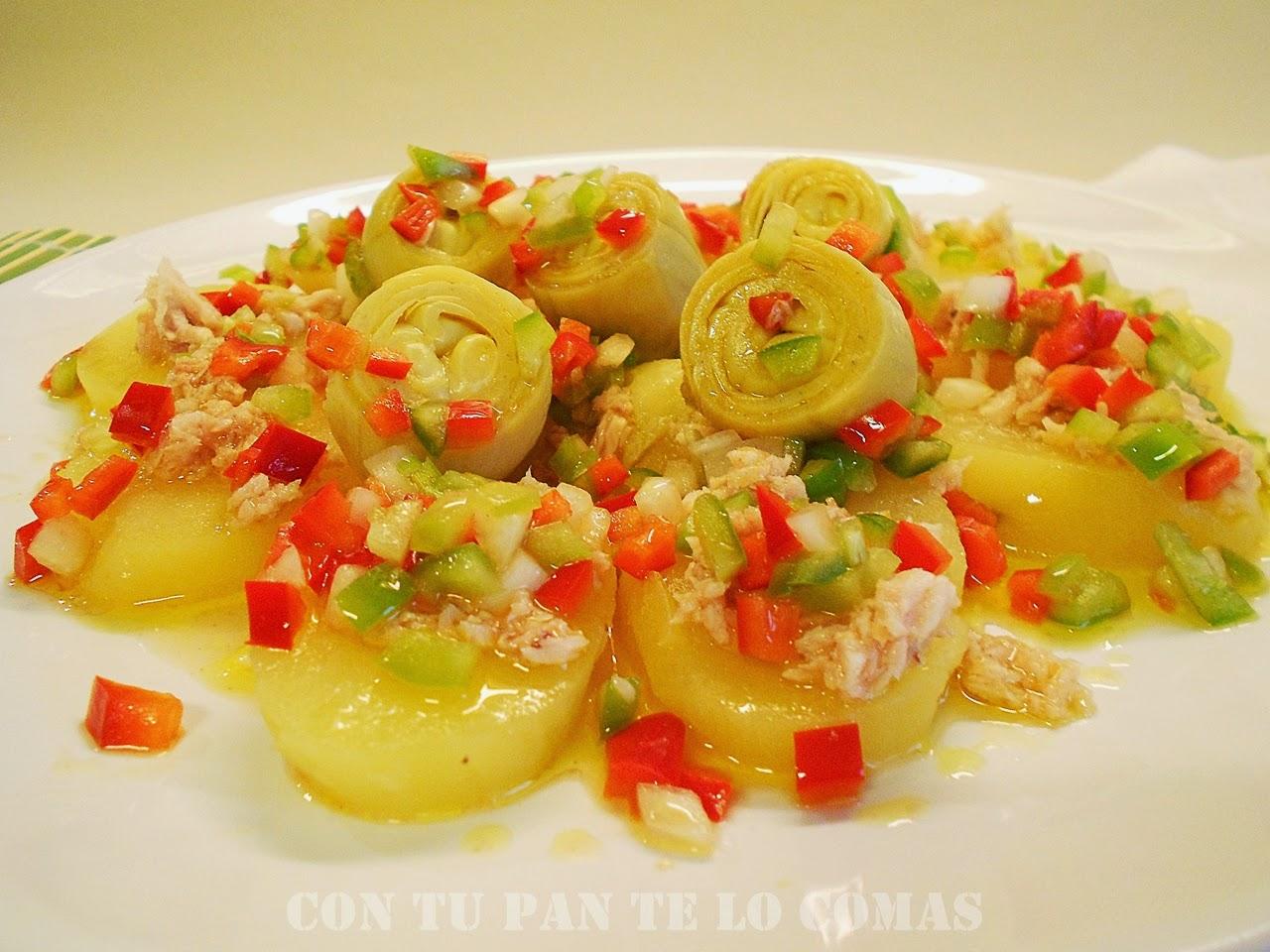 Con tu pan te lo comas ensalada de patatas con alcachofas for Cocinar repollo con patatas
