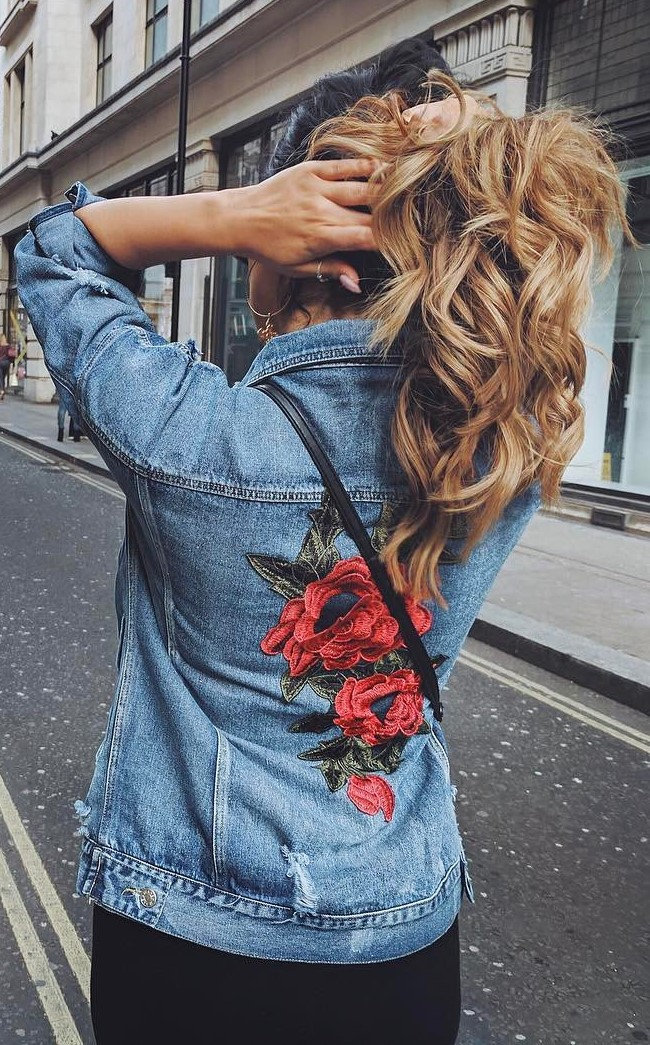 fashionable printed denim jacket