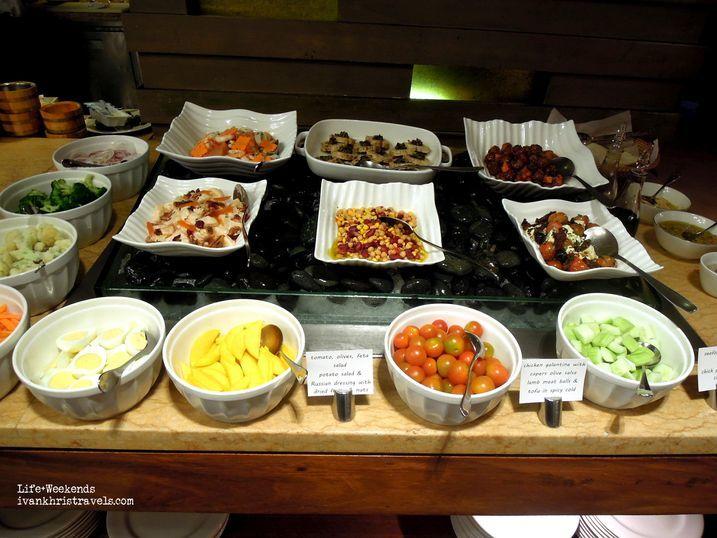 Salad station at New World Hotel's Cafe 1228