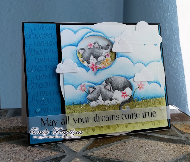 Dreaming Kitty Card by February Guest Designer Emily Lauritzen   Aloha Newton & Newton's Daydream stamp sets by Newton's Nook Designs #newtonsnook