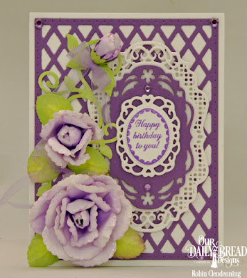 Our Daily Bread Designs Custom Dies: Rose, Rose Leaves, Lattice Background, Fancy Foliage, Bitty Blossoms, Vintage Borders, Fancy Fan, Stamp Set: Lovely Flowers