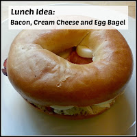 Bacon, Egg and Cream Cheese Bagel, with Title Overlaid
