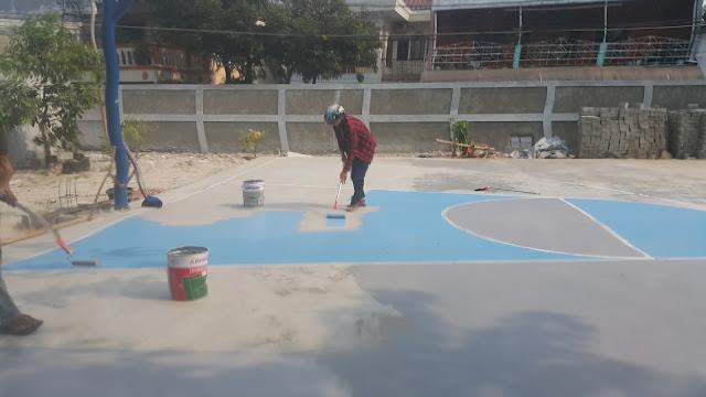 Lapangan Basket Baru, Pengecatan Lapangan