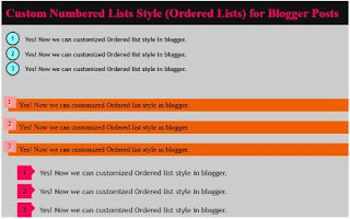 Ordered Lists Blogger Posts