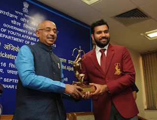 Cricketers Rohit Sharma and Ajinkya Rahane receive Arjuna Award