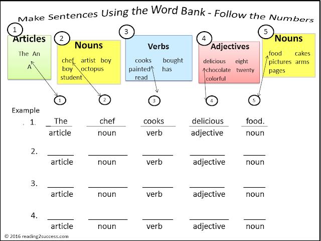 dk silly sentences instruction sheet