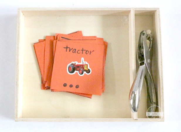 DIY Syllable counting activity with stickers, cardstock and a hole punch