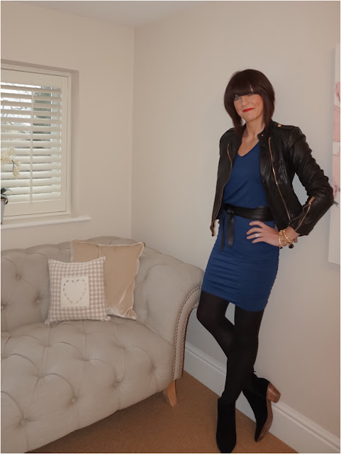 My Midlife Fashion, Kettlewell colours cara v neck t shirt, kettlewell colours ruched skirt, leather wrap belt, mango block heel ankle boots, zara leather biker jacket