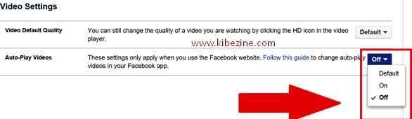 autoplay putar otomatis menonaktifkan mematikan video facebook fb