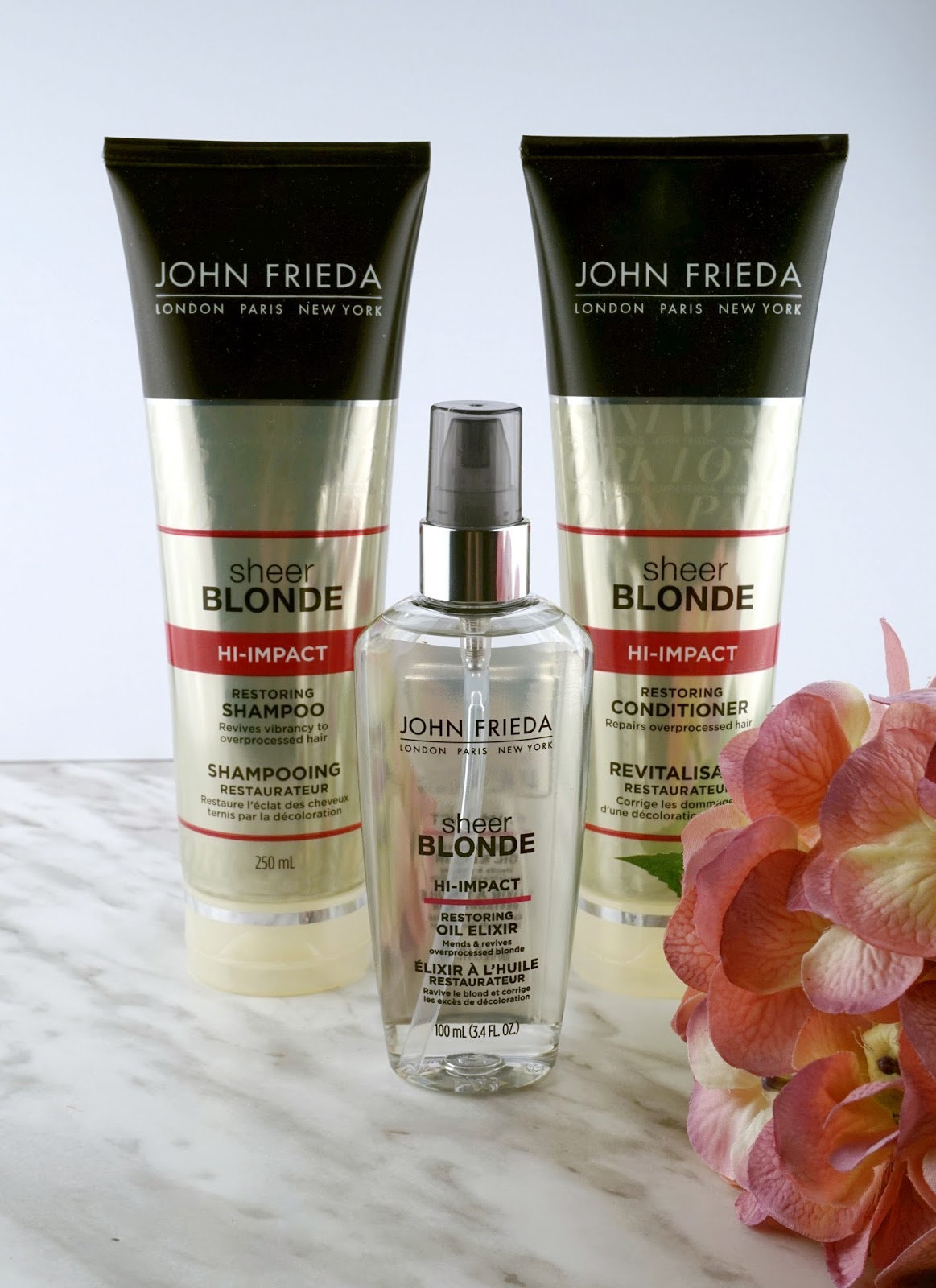 john frieda hi impact sheer blonde shampoo conditioner oil elixir review